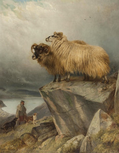 Art Prints of Sheep on a Crag with Ghillie and Dogs Below by Richard Ansdell