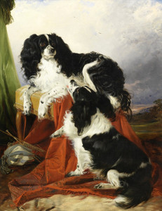 Art Prints of Two King Charles Spaniels by Richard Ansdell