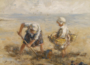 Art Prints of Digging on the Shore by Robert Gemmell Hutchison