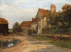 Art Prints of Farm Building and a Pond by Robert Morley