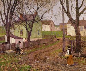 Art Prints of The Village Lane by Robert Spencer