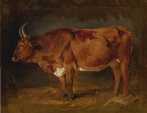 Art Prints of A Brown Cow in Profile by Rosa Bonheur