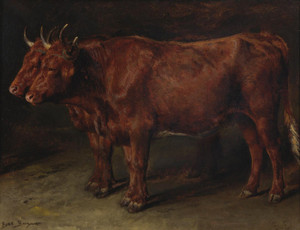 Art Prints of A Pair of Oxen by Rosa Bonheur