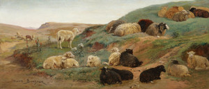 Art Prints of Sheep in a Mountainous Landscape by Rosa Bonheur