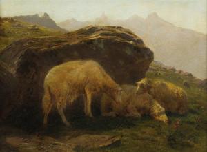 Art Prints of Sheep on a Hillside by Rosa Bonheur