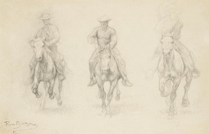 Art Prints of Study of Three Men on Horseback by Rosa Bonheur