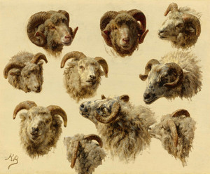 Art Prints of Study of Ram Heads by Rosa Bonheur
