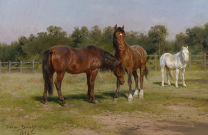 Art Prints of Three Horses in a Landscape by Rosa Bonheur