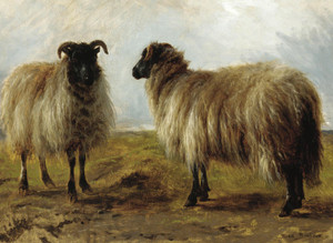 Art Prints of Two Rams in a Landscape by Rosa Bonheur