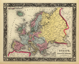 Art Prints of Map of Europe, 1860 (0565032) by Samuel Augustus Mitchell