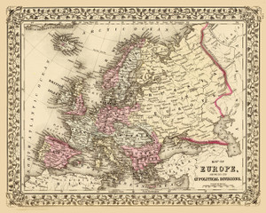 Art Prints Of Map Of Europe 1860 By Samuel Augustus Mitchell