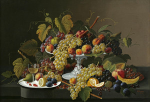 Art Prints of Still Life of Fruit and Wine on a Table by Severin Roesen
