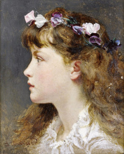 Art Prints of Young Girl with Garland of Flowers in Her Hair by Sophie Anderson