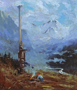 Art Prints of A Totem Pole with Mt. McKinley in the Distance by Sydney Laurence