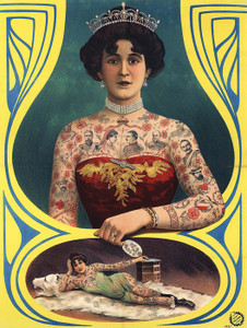 Art Prints of Tattooed Woman, Vintage Poster