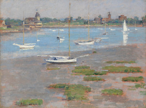 Art Prints of Low Tide, Riverside Yacht Club by Theodore Robinson