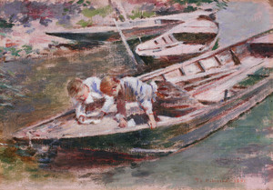 Art Prints of Two in a Boat by Theodore Robinson