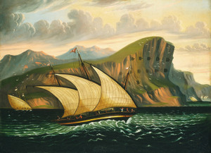 Art Prints of Felucca off Gibraltar by Thomas Chambers