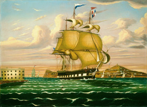Art Prints of Packet Ship Passing Castle Williams, NY Harbor by Thomas Chambers