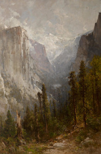 Art Prints of El Capitan with Clouds Rest Beyond Yosemite by Thomas Hill
