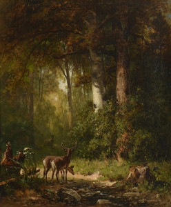 Art Prints of Deer in a Thicket, 1892 by Thomas Hill