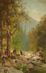 Art Prints of Fishing on the Merced River by Thomas Hill