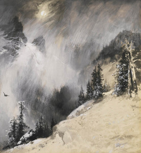 Art Prints of The Falling Flakes Yosemite, a Mountain Snowfall by Thomas Moran