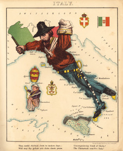 Art Prints of Pictorial Map of Italy, 1868 by an Unknown Artist
