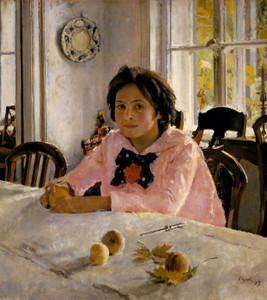 Art Prints of Girl with Peaches or Portrait of V.S. Mamontova by Valentin Serov