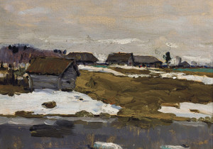Art Prints of Village by the Water in Winter by Valentin Serov