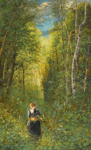 Art Prints of Girl Gathering Flowers in the Woods by Viktor Vasnetsov