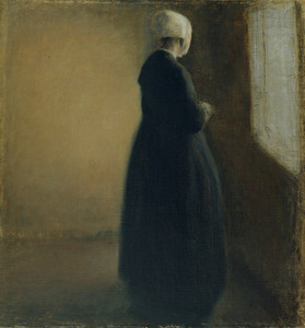 Art Prints of An Old Woman Standing by a Window by Vilhelm Hammershoi