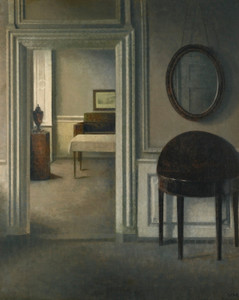 Art Prints of Interior with a Mirror by Vilhelm Hammershoi