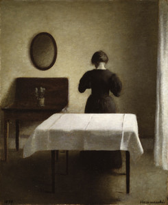 Art Prints of Interior with a Woman by Vilhelm Hammershoi