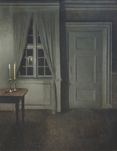Art Prints of Interior with Two Candles by Vilhelm Hammershoi