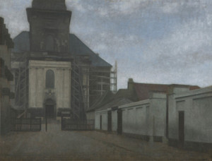 Art Prints of Strandgade with Christians Kirke by Vilhelm Hammershoi