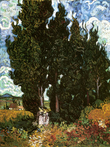 Art Prints of Cypresses with Two Figures by Vincent Van Gogh