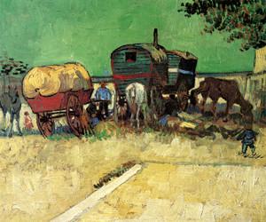 Art Prints of Encampment of Gypsies with Caravan by Vincent Van Gogh