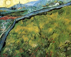 Art Prints of Field Enclosure, Mountainous Landscape, 1890 by Vincent Van Gogh