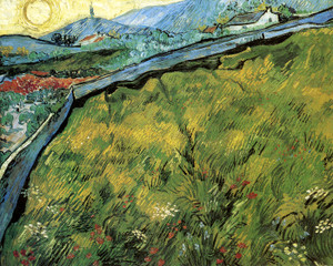 Art Prints of Field Enclosure, Mountainous Landscape, 1890 by Vincent Van Gogh