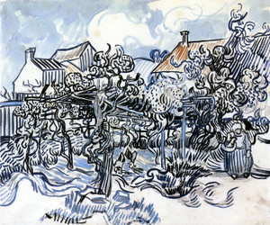 Art Prints of Old Vineyard with Peasant Woman by Vincent Van Gogh