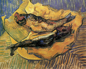 Art Prints of Plate with Two Red Herrings, 1889 by Vincent Van Gogh