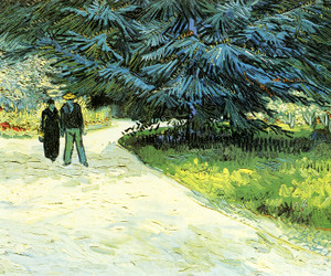 Art Prints of Public Garden with Couple and Blue Fir Tree by Vincent Van Gogh