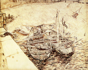 Art Prints of Quay with Men Unloading Sand Barges, Study by Vincent Van Gogh