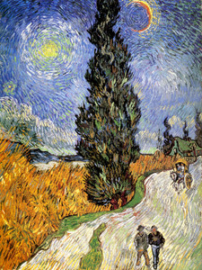 Art Prints of Road with Men Walking by Vincent Van Gogh