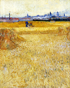 Art Prints of The Mowers, Arles in the Background by Vincent Van Gogh