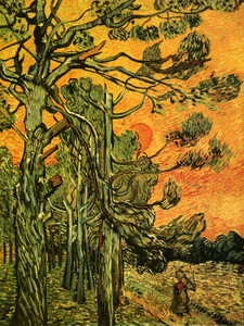 Art Prints of Wheatherbeaten Pine Trees Against the Setting Sun by Vincent Van Gogh