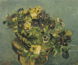 Art Prints of Basket of Pansies on a Small Table by Vincent Van Gogh