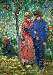 Art Prints of Courting Couples in the Park at Asnieres, detail by Vincent Van Gogh