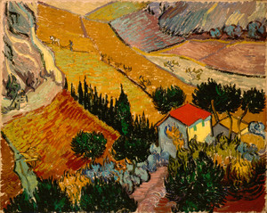 Art Prints of Landscape with House and Ploughman by Vincent Van Gogh